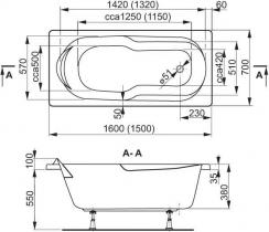Ванна VAGNERPLAST Nymfa 160x70