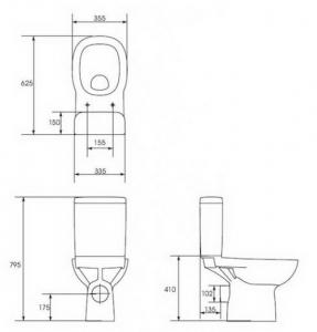 Компакт CERSANIT Facile 011, 3/6л с крышкой duroplast
