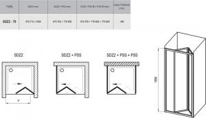 Душевая дверь RAVAK SDZ2 - 70 (White - Grape)
