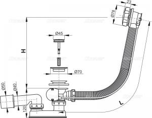 Сифон для ванны AlcaPlast A55К - 100 (автомат)