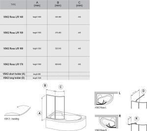 Шторка для ванны RAVAK VSK2 Rosa 160 (White - Rain)