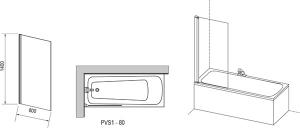 Шторка для ванны RAVAK PVS1 (White -Transparent)