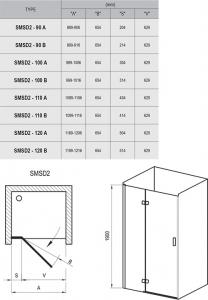 Душевая дверь RAVAK SMSD2 - 120 A (Chrome - Transparent)