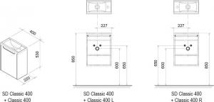 Шкафчик под умывальник RAVAK SD Classic 40x22
