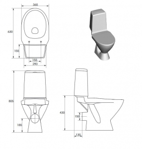 Компакт CERSANIT Arktik 011 3/6 с крышкой дюропласт