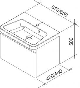 Шкафчик под умывальник RAVAK 10° 65х45 (темный орех)