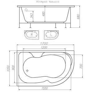 Ванна RIVA POOL Nabucco 170x105 с ножками