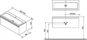 Шкафчик под умывальник RAVAK SD Clear 80x42
