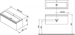 Шкафчик под умывальник RAVAK SD Clear 80x42 (цвет корпуса Черешня)