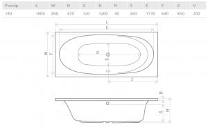 Ванна RADAWAY Dia 180x80 с ножками (WA1-05-180x080U)