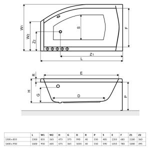 Ванна RADAWAY Sitera 160×85 с ножками (WA1-32-160х095 L/P)