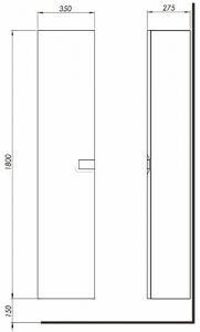 Шкафчик боковой, высокий KOLO Twins 88462