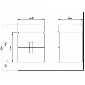 Шкафчик + Умывальник KOLO Twins (с тонким бортом) 89490 + L51950 (50)