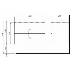 Шкафчик + Умывальник KOLO Twins (с тонким бортом) 89553 + L51980 (80)