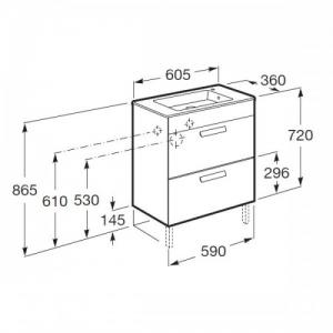 Шкафчик с умывальником ROCA Debba 60 A855905806 (белый)