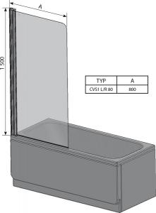 Шторка для ванны RAVAK CVS1 - 80 (Satin - Transparent)