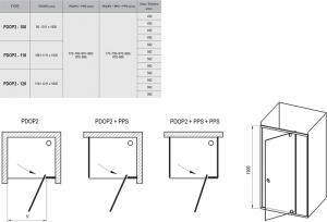 Душевая дверь RAVAK PDOP2 - 120 (Черный - Transparent)