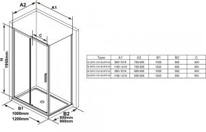Душевая кабина RAVAK Blix Slim BLSDP2+BLSPS 100x80 (Полированный алюминий - Transparent)