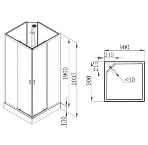 Душевой бокс VOLLE Solar (90x90x205)