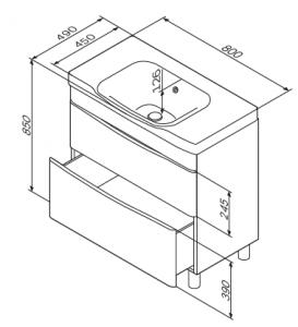 Шкафчик с умывальником AM PM Like 80 с ножками (белый/венге)