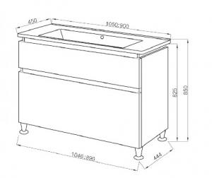 Шкафчик с умывальником ЮВВИС Этна 105 ТНБ-2 Д серый