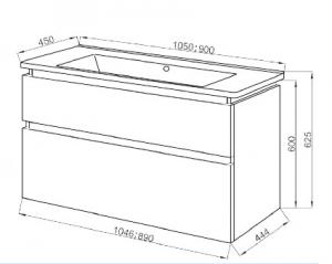 Шкафчик с умывальником ЮВВИС Этна 105 ТПБ-2 Д