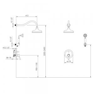 Душевая система IMPRESE Podzima Ledove ZMK01170111