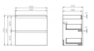 Шкафчик с умывальником CERSANIT Moduo Slim 60 (В05) - серый