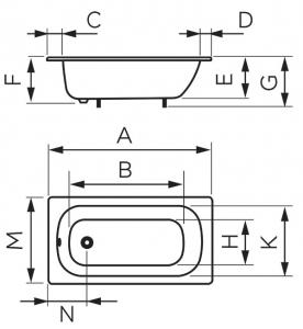Ванна стальная FERRO FWS2 120х70