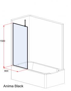Шторка для ванны VELINO Anima Black - 80 (Прозрачный)