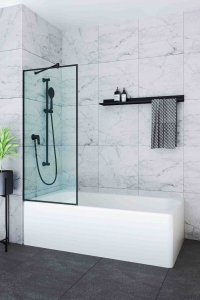 Шторки для ванной Шторка для ванны VELINO Anima Black - 80 (Прозрачный)