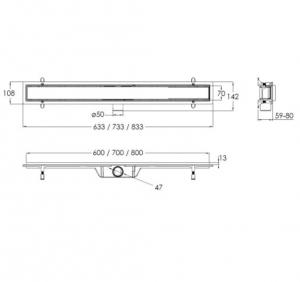 Линейный трап VOLLE 80 см. 90-22-803 - с решеткой