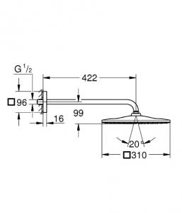 Душевая система GROHE Grohtherm Rainshower Mono 310 Cube с термостатом