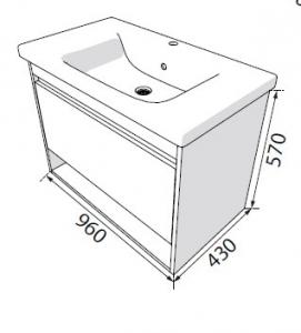 Шкафчик с умывальником RADAWAY Silvia + Soft 100