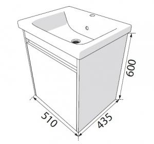 Шкафчик с умывальником RADAWAY Classic + Soft 50