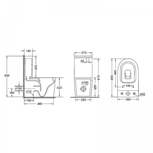 Компакт Q-TAP Stork Rimless 3/4,5л с крышкой Slim SoftClose (WHI 2178P)