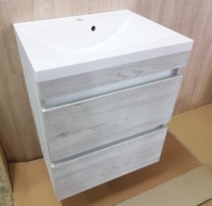 Мебель для ванной комнаты Шкафчик с умывальником FANCY MARBLE Borneo 600 + Lucia (sonoa дымчатый)