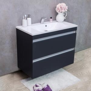 Мебель для ванной комнаты Шкафчик с умывальником FANCY MARBLE Borneo 900 + Amelia (Серый)