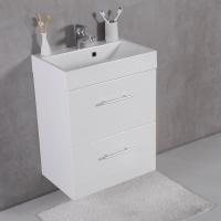Мебель для ванной комнаты Шкафчик с умывальником FANCY MARBLE Crete ШН-22М + Um-550 (Белый)