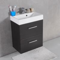 Мебель для ванной комнаты Шкафчик с умывальником FANCY MARBLE Crete ШН-22М + Um-550 (Венге)