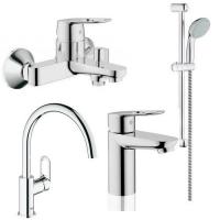 Смесители для ванны Набор смесителей GROHE BauLoop М 123225K + кухонный смеситель