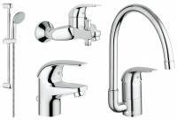 Смесители для ванны Набор смесителей GROHE Euroeco 123242K + кухонный смеситель