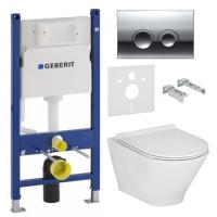 Унитазы Инсталляция GEBERIT Duofix (4-в-1) 458.126.00.1 с унитазом ROCA Gap Round Rimless A34H0N8000