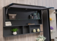 Мебель для ванной комнаты Шкафчик с зеркалом  FANCY MARBLE ШЗ-Butterfly 2 110 (Черный)