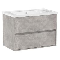 Мебель для ванной комнаты Шкафчик с умывальником VOLLE Teo 80 (Бетон)