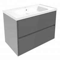 Мебель для ванной комнаты Шкафчик с умывальником VOLLE Teo 80 (Серый)