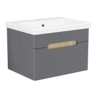 Мебель для ванной комнаты Шкафчик с умывальником VOLLE Puerta 60 - 1 ящик (Серый)