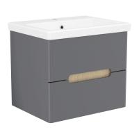 Мебель для ванной комнаты Шкафчик с умывальником VOLLE Puerta 60 - 2 ящика (Серый)