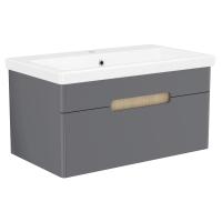Мебель для ванной комнаты Шкафчик с умывальником VOLLE Puerta 80 - 1 ящик (Серый)