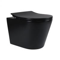 Унитазы Унитаз подвесной Q-TAP Scorpio Rimless с крышкой Slim SoftClose MATT BLACK